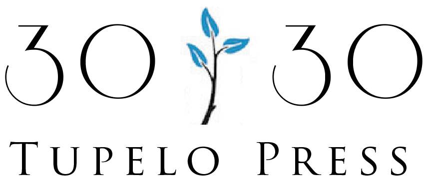 """30/30 Project logo. Description: a branch with teal leaves inbetween """"30"""" and 30"""" in art deco font. """"Tupelo Press"""" right below"""